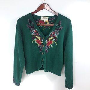 Susan Bristol Knit Floral Embroidered Cardigan L